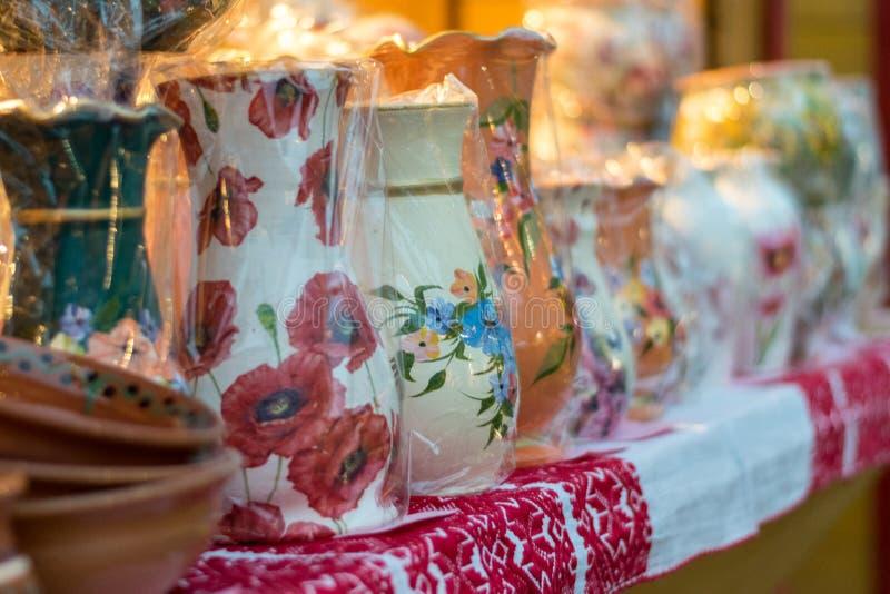 Pots for sale in Sibiu 2017 Christmas market, Transylvania, Romania stock image