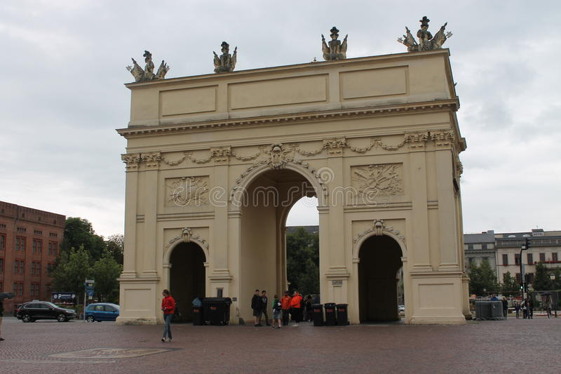 Potsdam, Luisenplatz, Brandenburg Gate stock photos