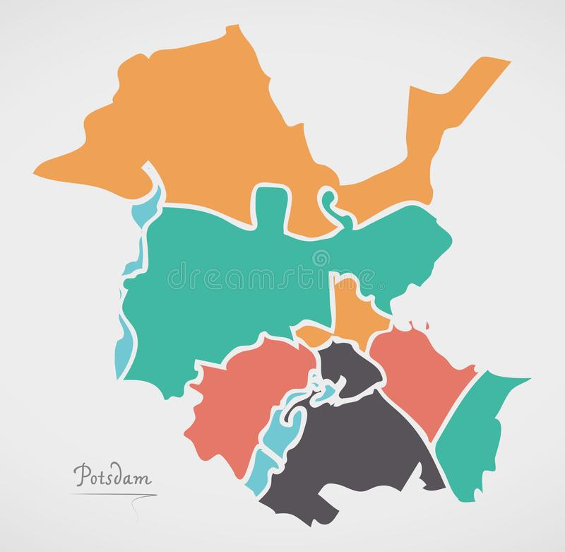 Potsdam Map with boroughs and modern round shapes. Illustration vector illustration