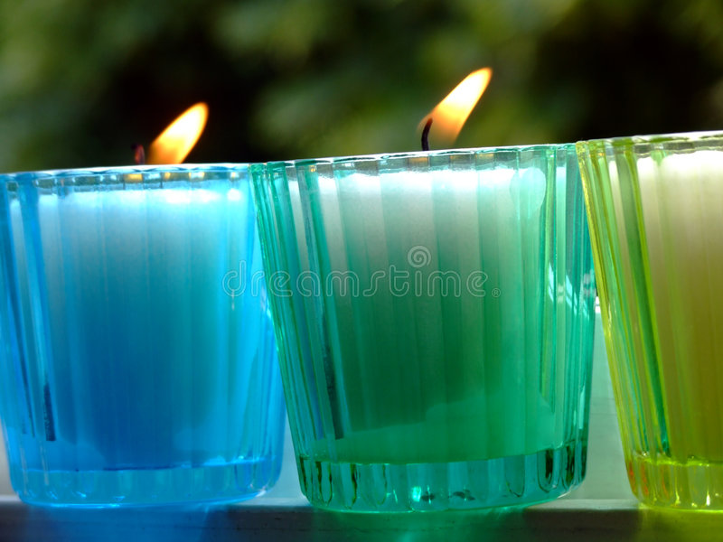 Potted candles royalty free stock photo