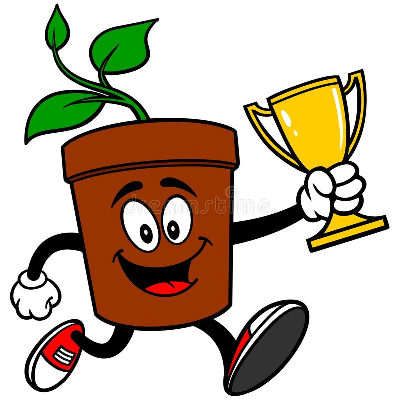 Potted Plant Running with Trophy. A vector illustration of a Potted Plant Running with Trophy stock illustration