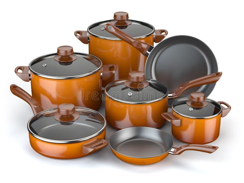 Potten en pannen Reeks van het koken van keukengerei en cookware stock illustratie