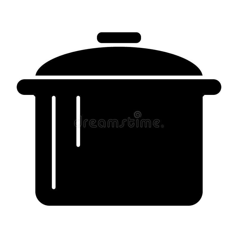 Potten stevig pictogram Steelpan vectordieillustratie op wit wordt geïsoleerd Het ontwerp van de braadpan glyph stijl, voor Web d stock illustratie