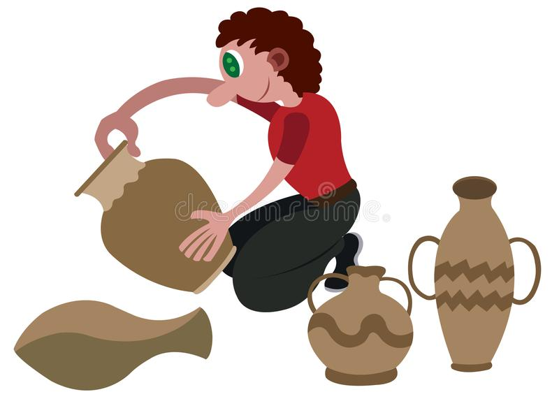 Potter busy at work. A potter moulding clay pots vector illustration