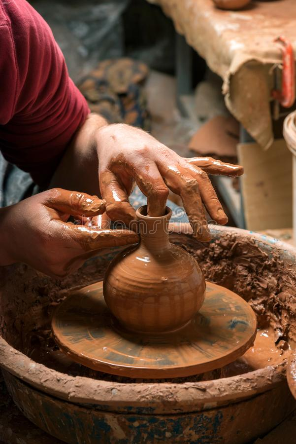 Potter at work. Workshop. Potter at work. Workshop place stock photo