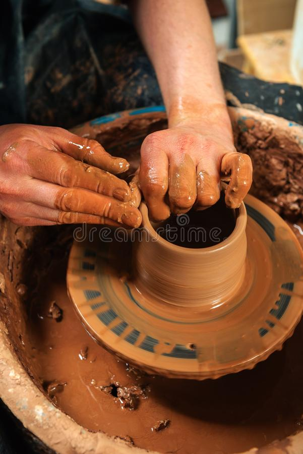 Potter at work. Workshop. Potter at work. Workshop place stock images