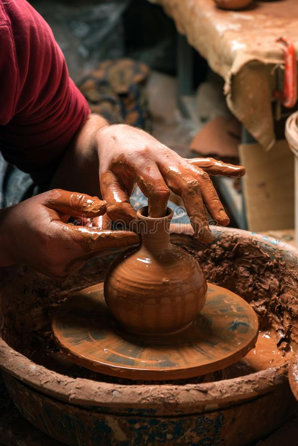 Potter at work. Workshop. Potter at work. Workshop place royalty free stock image