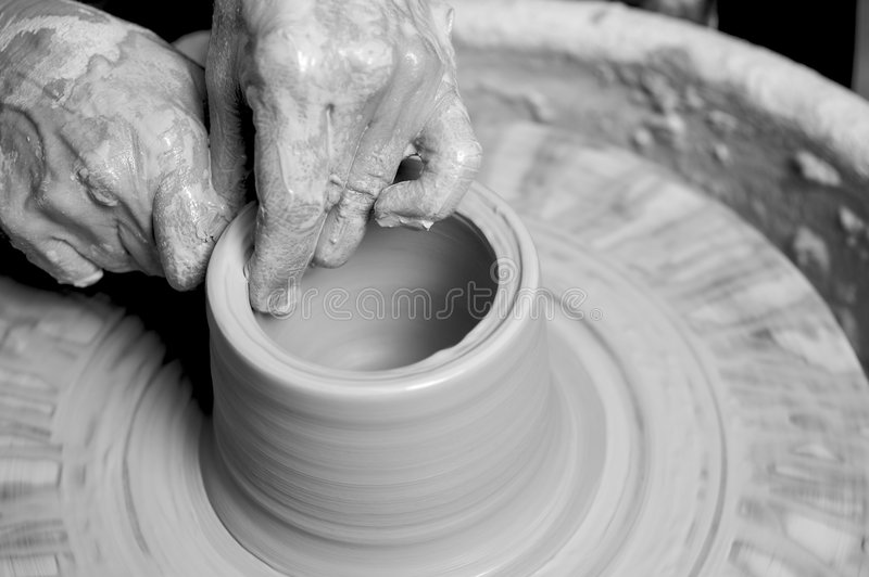 Potter working clay1 stock image