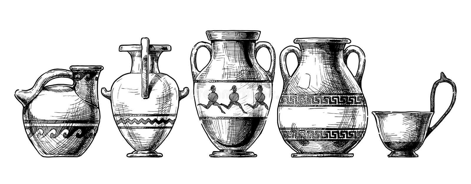 Pottery of ancient Greece. stock illustration