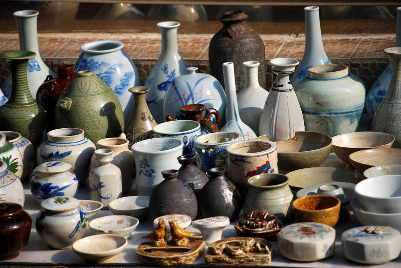 Pottery in Asian flea market stock image