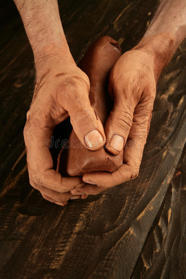 Pottery craftmanship potter hands work clay stock image