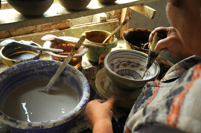 Pottery craftsman working royalty free stock photography