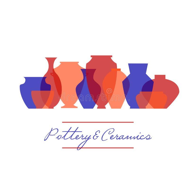 Pottery icon set stock illustration