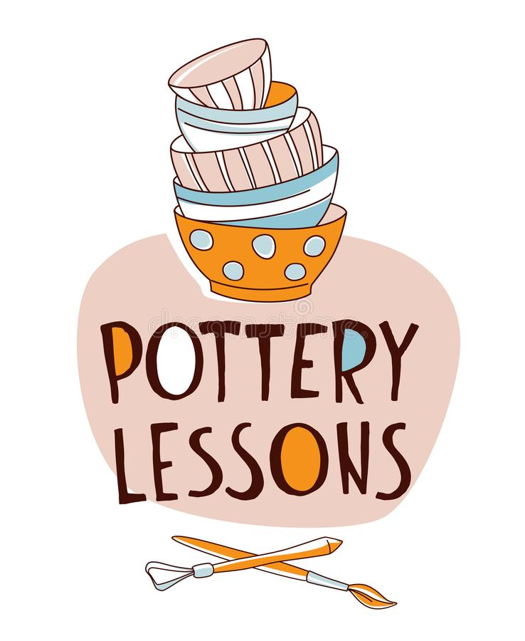 Free Pottery Lessons. Traditional Pottery Making, Stack Of Bowls Crockery Stock Image - 126805861