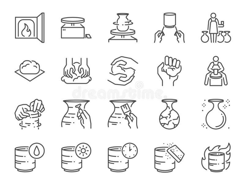Pottery line icon set. Included icons as clay, terra-cotta, ceramics, porcelain , sculpture and more. royalty free illustration
