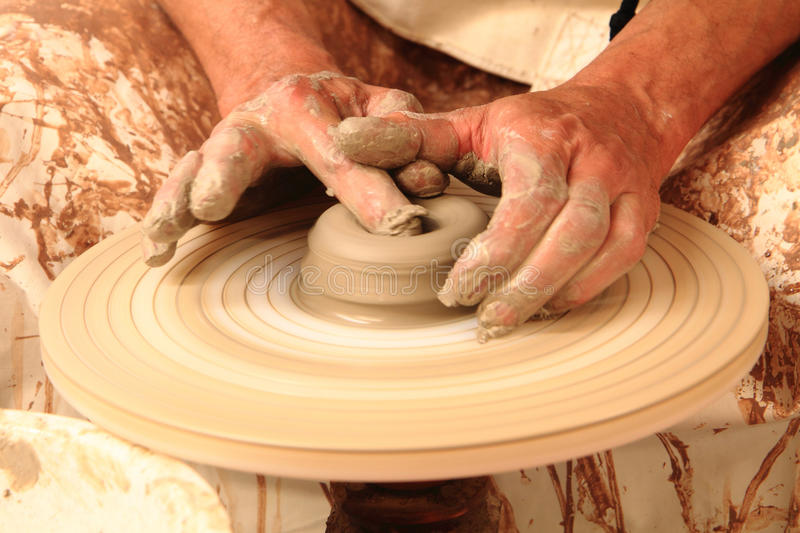 Pottery making close-up. stock image