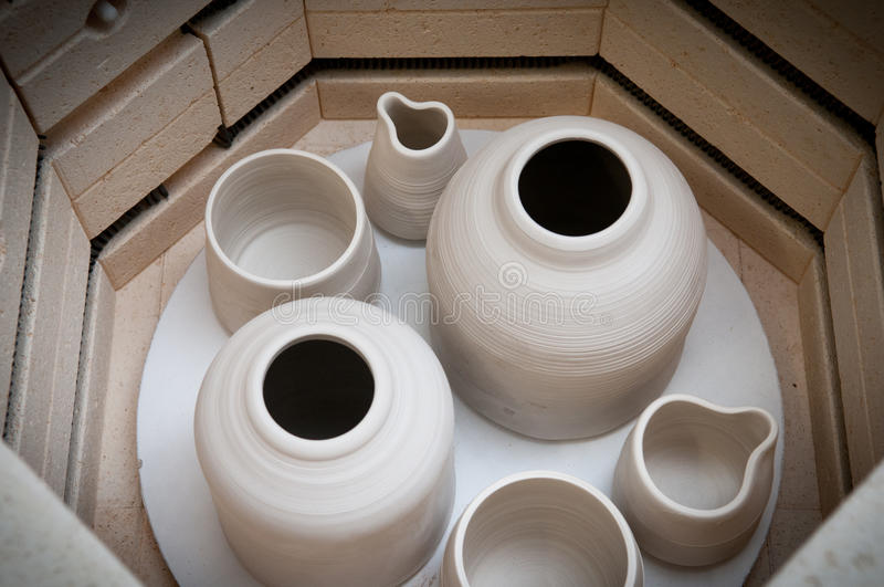 Pottery making kiln. Ready for the firing process royalty free stock images