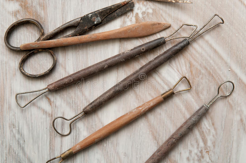 Pottery making tools royalty free stock images