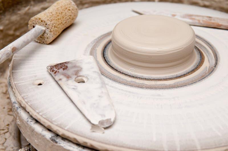 Pottery making wheel stock image