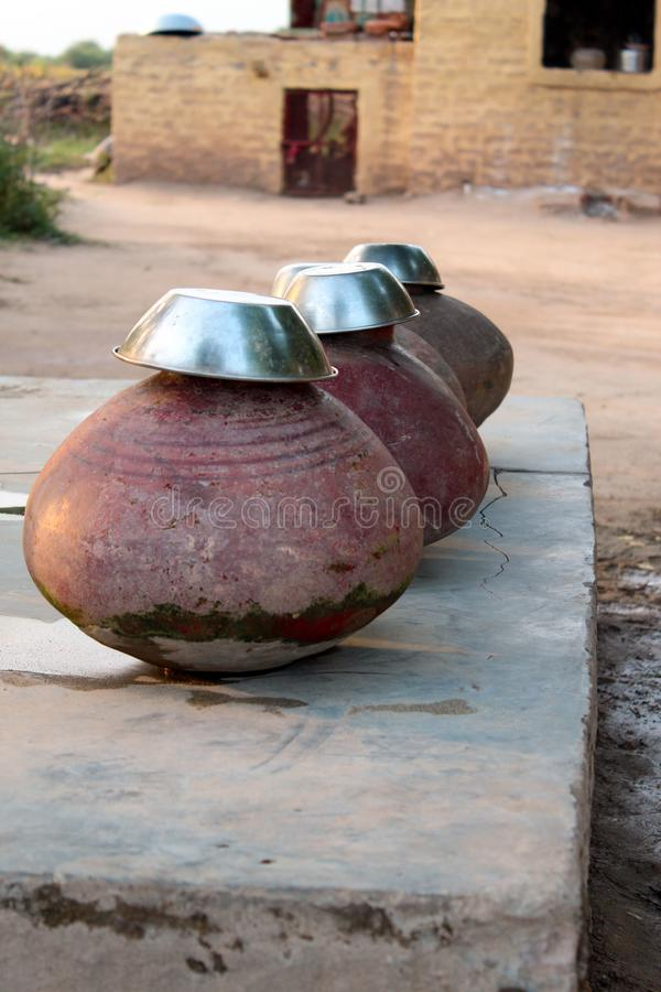 Pottery.pot for water in villages. Pot for water storage in villages to make water cool stock image