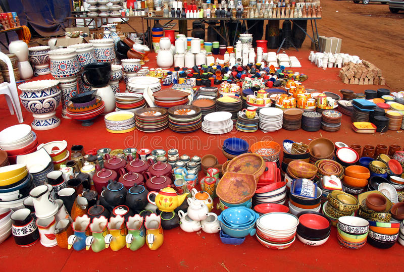Pottery shop. Variety of pottery displayed in a pottery shop on indian roads royalty free stock image