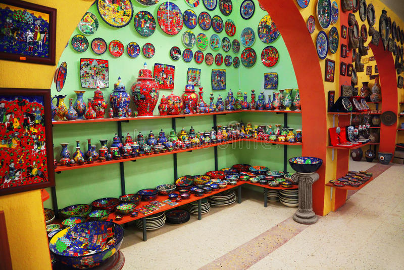 Pottery shop. Interior of clay pottery shop market royalty free stock photos