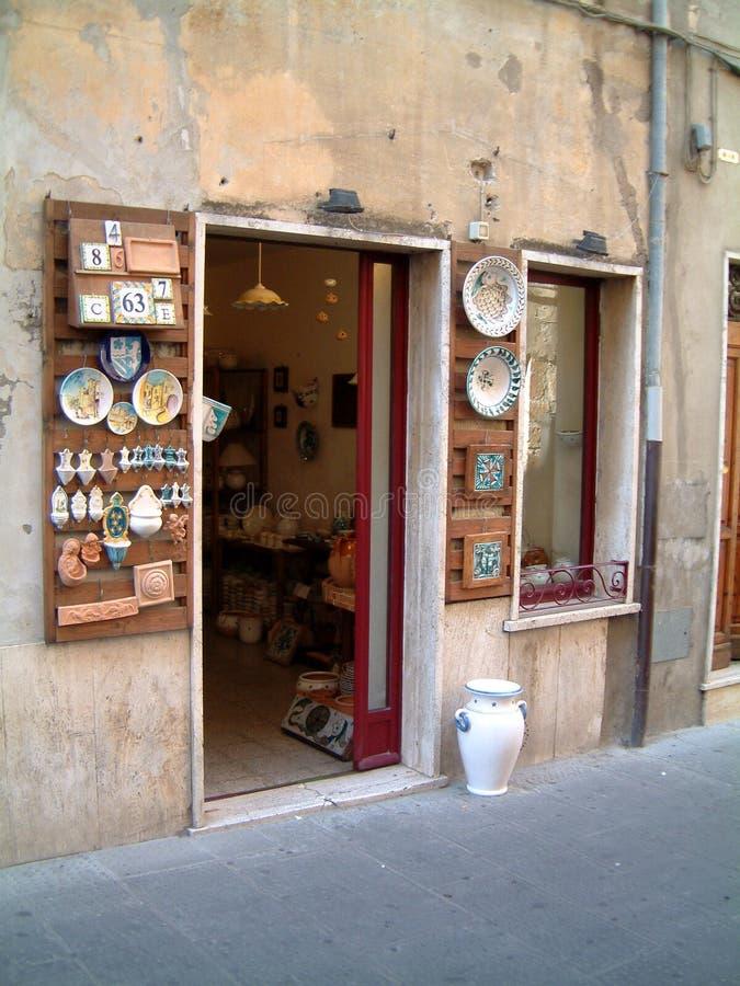 Pottery shop. Pottery in Ptigliano stock image