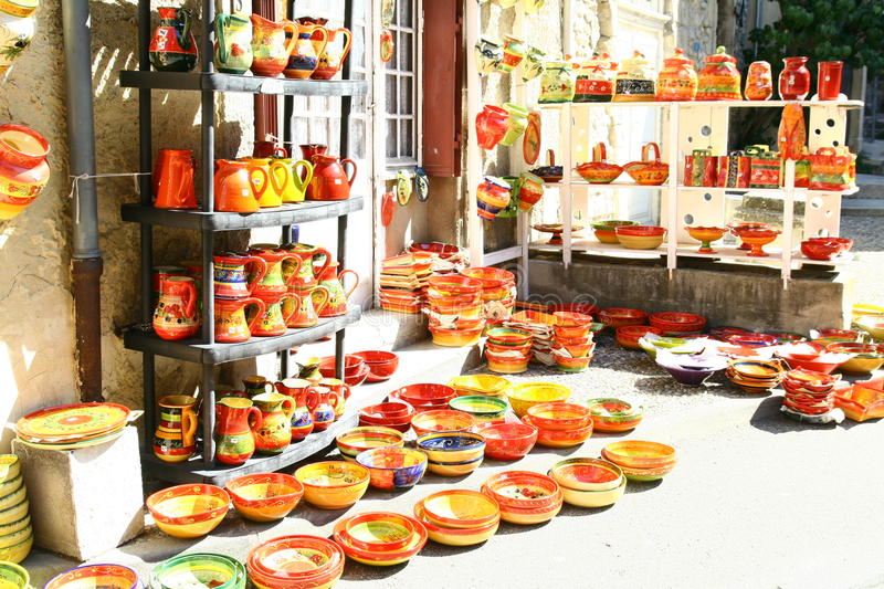 Pottery shop. Display in Provence France royalty free stock images