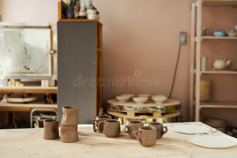 Pottery Shop Interior. Background image of traditional pottery shop interior in sunlight, copy space stock image