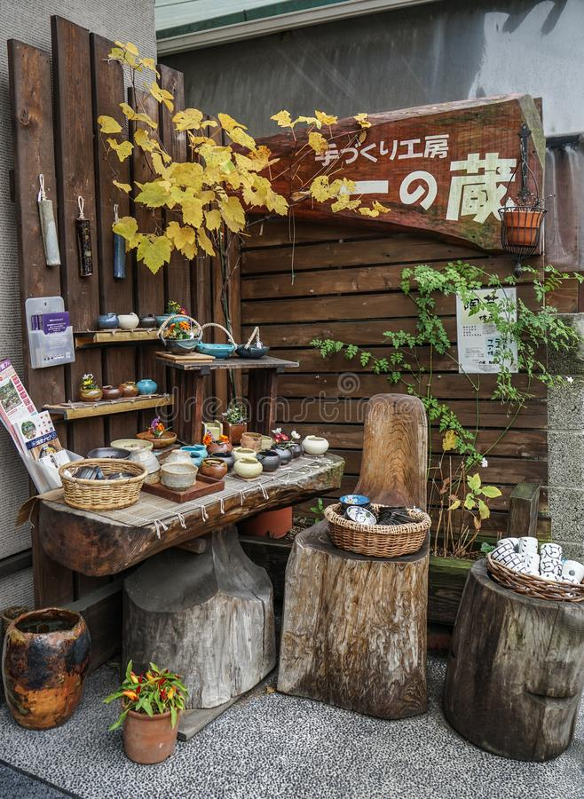 Pottery shop in Kyoto, Japan royalty free stock images