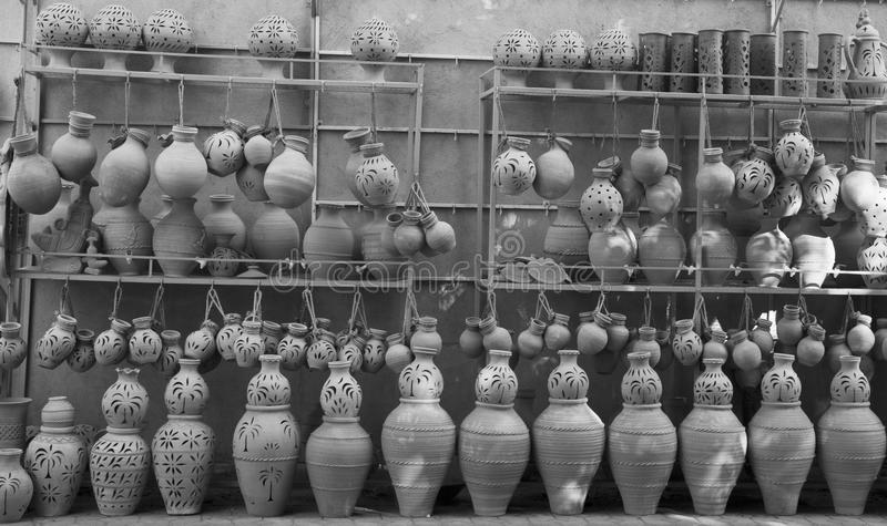 Pottery shop. In the street of Nizwa, Oman. The nizwa is famous for its weekly cattle auction that happens in the souq Traditional Market royalty free stock images