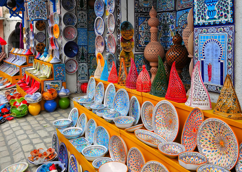 Pottery in souvenir store. Colorful Tunisian pottery in front of the souvenir store in Nabeul, Tunisia royalty free stock photography