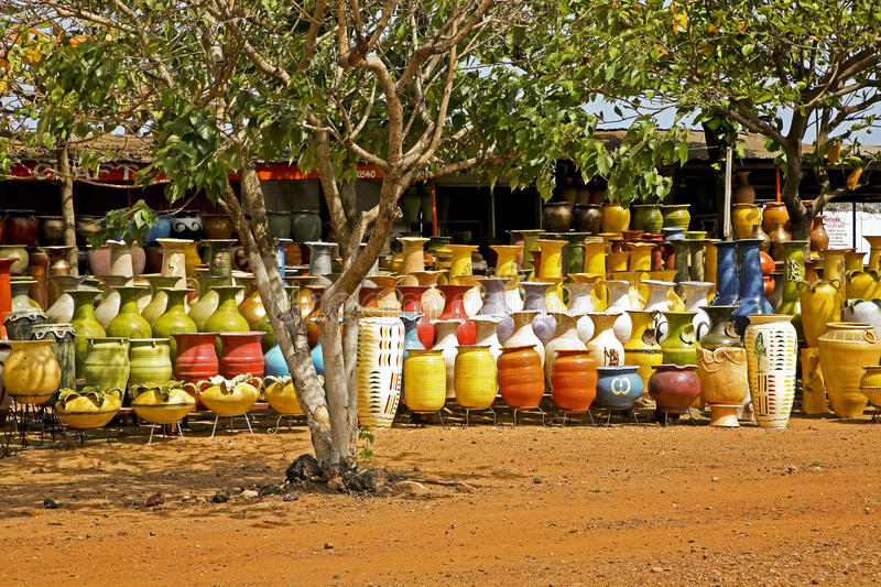 Pottery Stand in Ghana Africa. Pottery stand in Accra Ghana royalty free stock photography