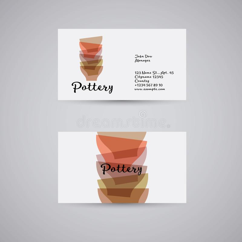 Pottery or a store of utensils. Hands made pottery. Multicolored bowls. Identity. Business card royalty free illustration