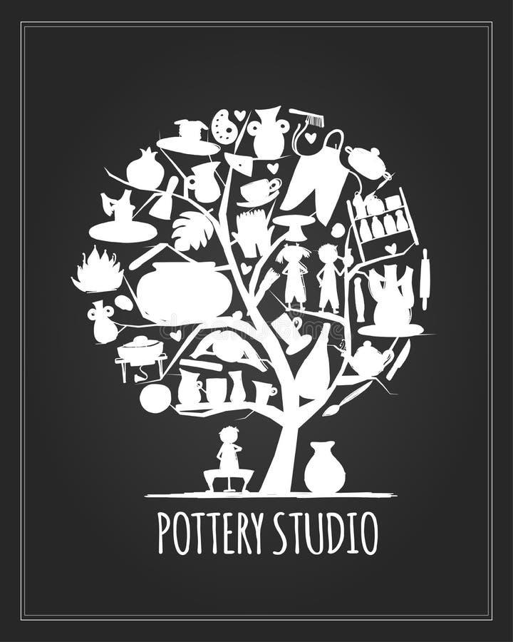 Pottery studio banner, art tree for your design stock illustration