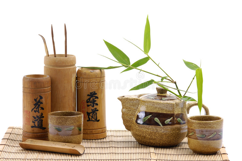 Pottery tea service royalty free stock image