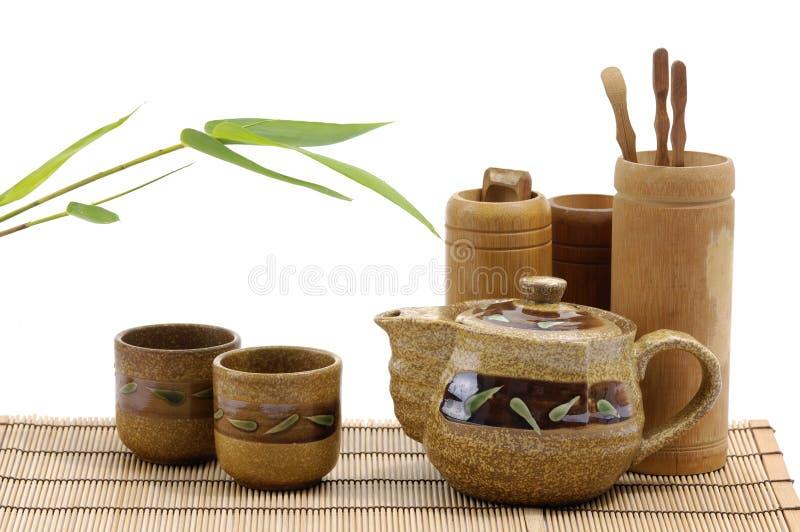 Pottery tea service stock photos