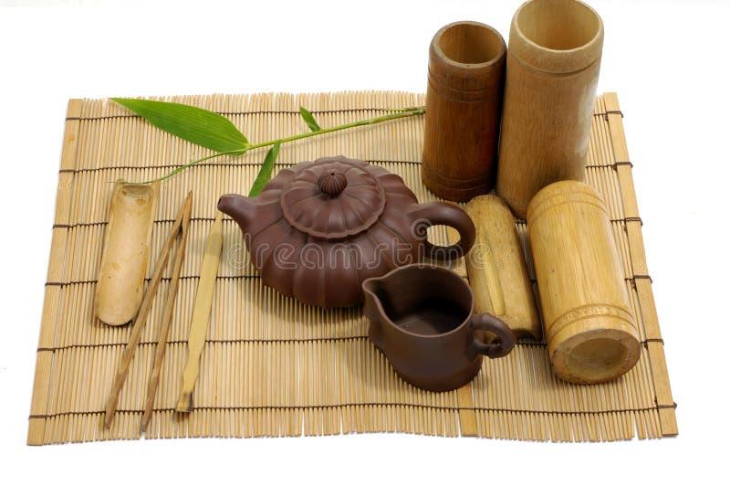 Pottery tea service royalty free stock photo