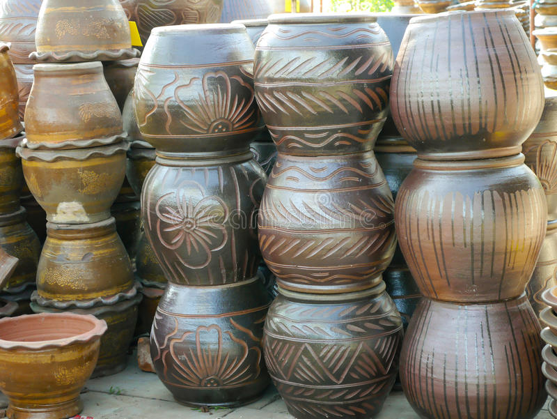Pottery, terracotta Nakhonratchasima Thailand. Pottery, terracotta Thai for plants in Nakhonratchasima Thailand stock photos
