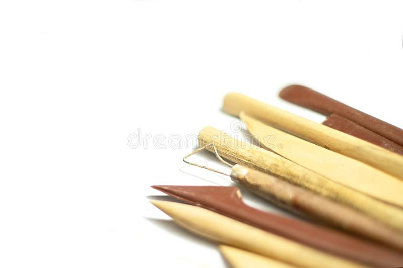 Pottery tools closeup isolated stock photography