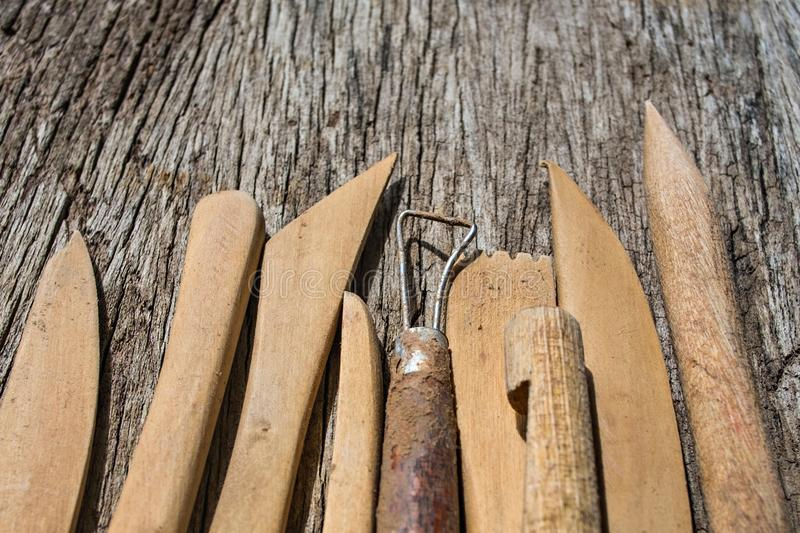 Pottery tools closeup stock image