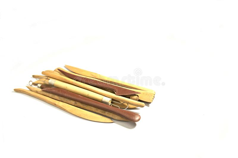 Pottery tools isolated stock image