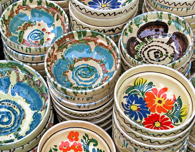 Ceramic traditional colored pottery, Romania royalty free stock photography