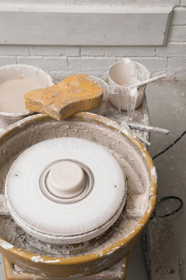 Pottery wheel in the studio making ceramic products royalty free stock photography