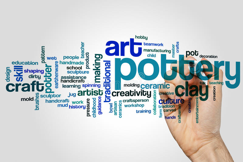 Pottery word cloud. Concept on grey stock images