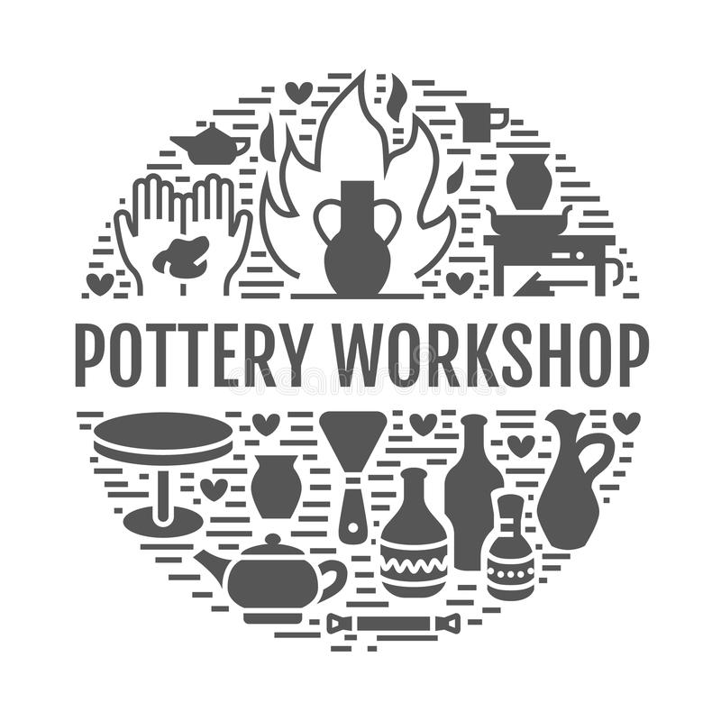 Pottery workshop, ceramics classes banner illustration. Vector glyph icons of clay studio tools. Hand building stock illustration