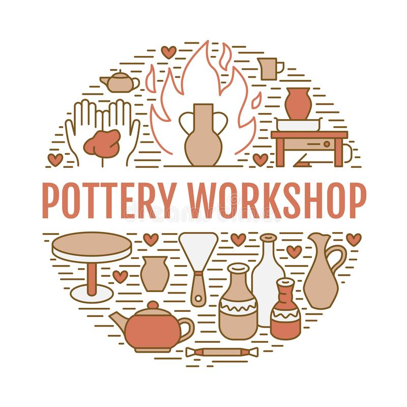 Pottery workshop, ceramics classes banner illustration. Vector line icon of clay studio tools. Hand building royalty free illustration