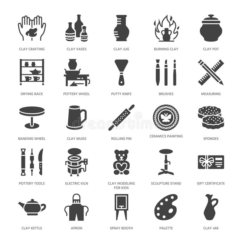 Pottery workshop, ceramics classes flat glyph icons. Clay studio signs. Hand building, sculpturing equipment - potter royalty free illustration