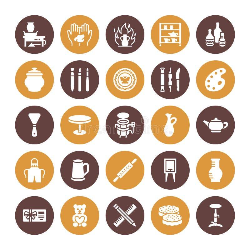Pottery workshop, ceramics classes flat glyph icons. Clay studio signs. Hand building, sculpturing equipment - potter. Wheel, electric kiln, tools. Solid vector illustration