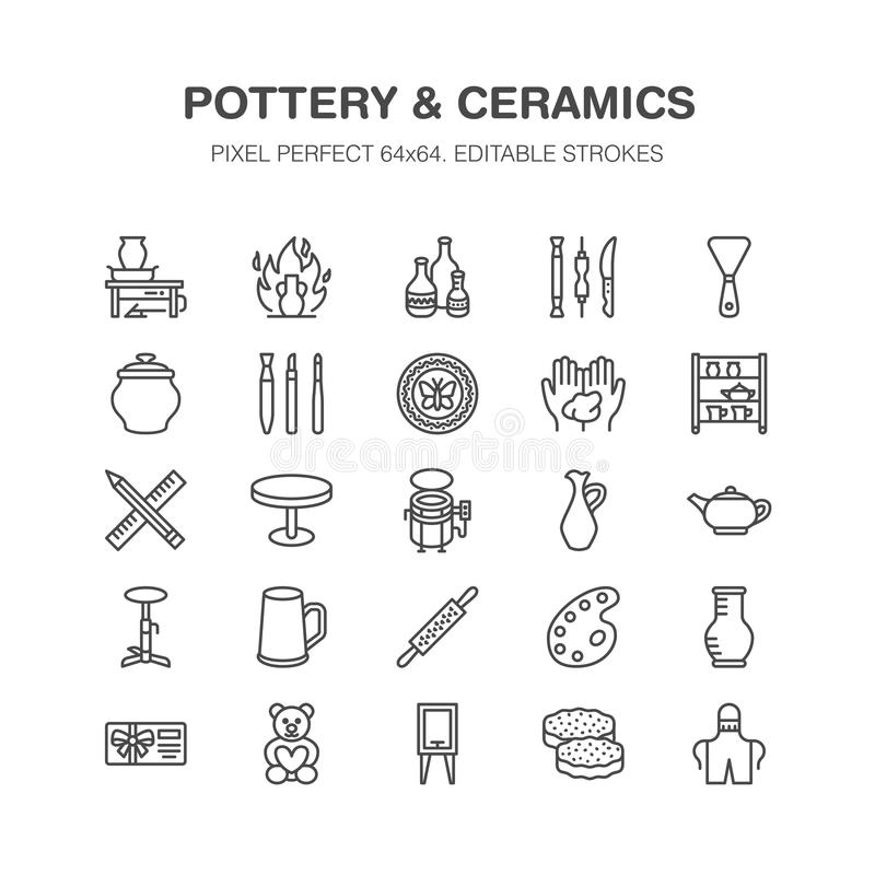 Pottery workshop, ceramics classes line icons. Clay studio tools signs. Hand building, sculpturing equipment - potter royalty free illustration